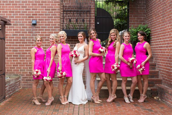 The Bridesmaids Rocked Their Hot Pink Color With A Few Glam Looks From Red Dress