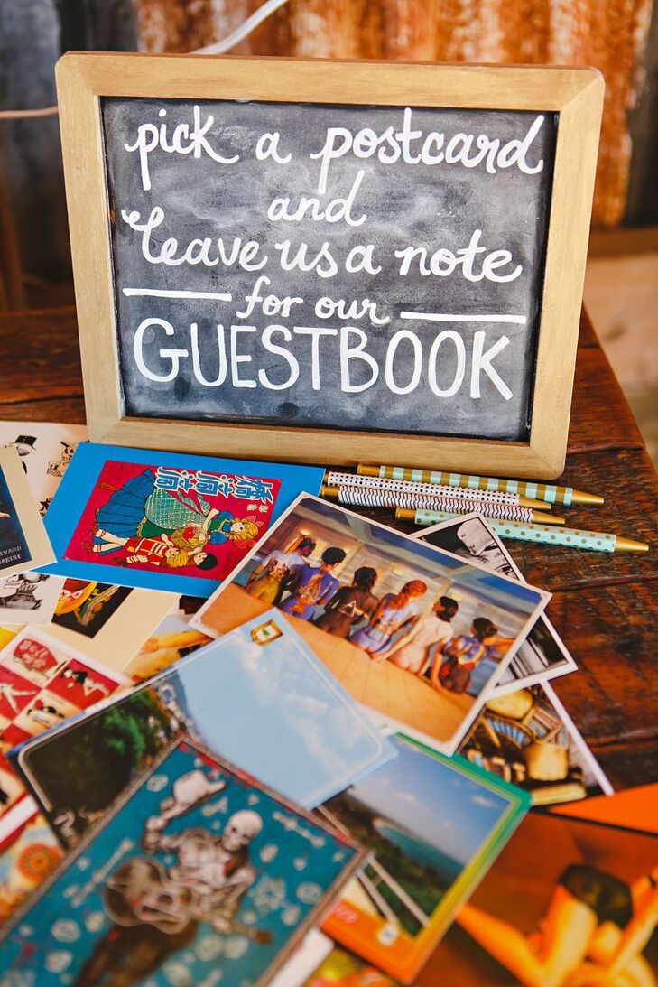 "Anika relied on a few of her favorite things to give their wedding day personality. ""My collection of postcards made for a fun alternative to a guest book,"" she says."