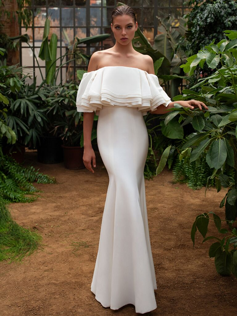 Zac Posen for White One off-the-shoulder ruffled fit-and-flare dress