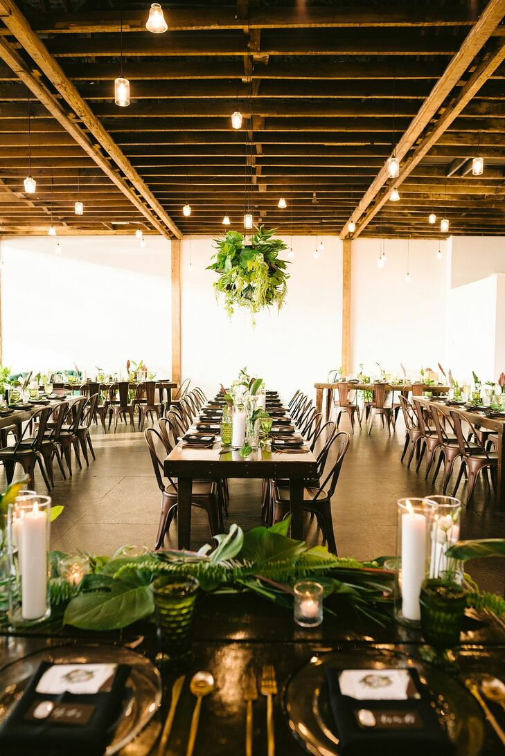Modern Loft Reception with Tropical Plants at CAVU TPA in Tampa, Florida