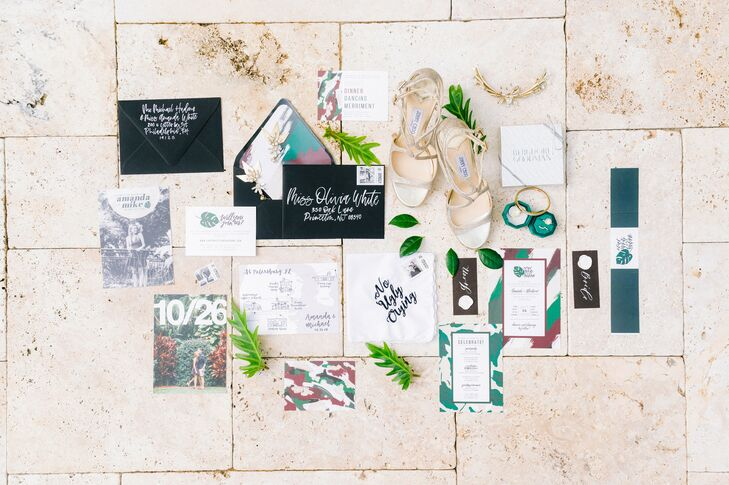 Modern, Colorful Invitations and Paper Goods with Calligraphy
