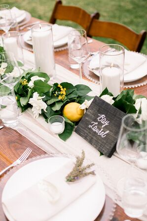 Farmhouse-Style Dining Tables with Greenery and Lemons