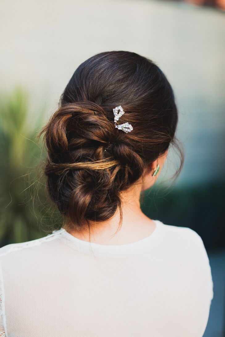 Bridal Updo with Crystal Pins