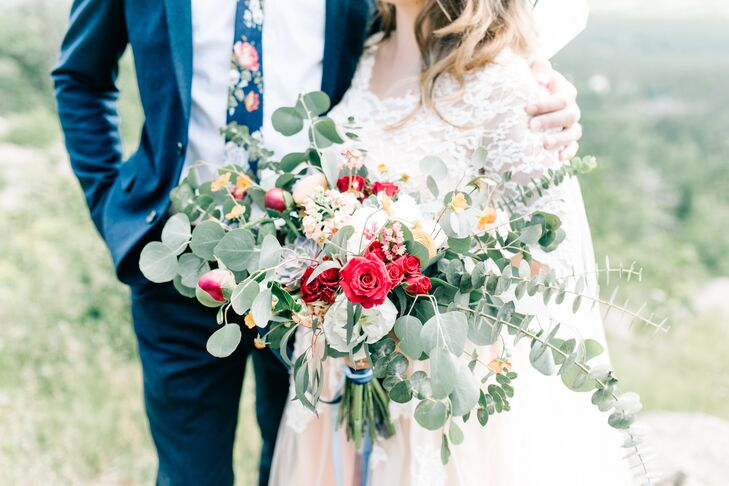Cascading Eucalyptus, Rose and Peony Bouquet
