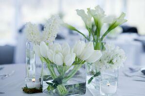 White Reception Centerpieces