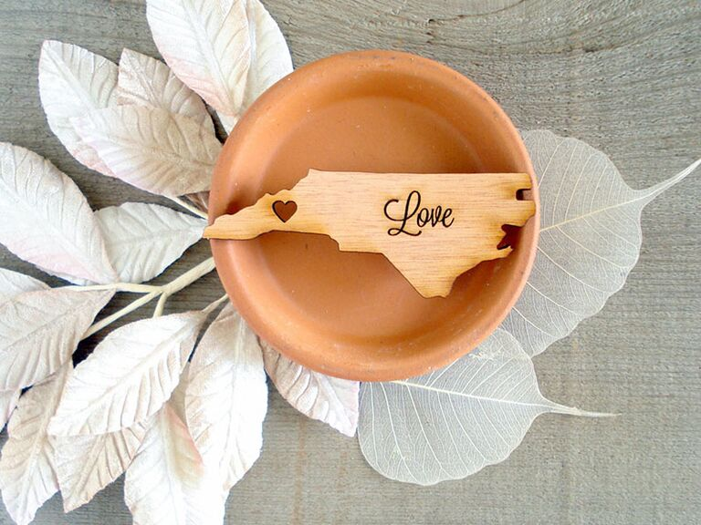 wooden state wedding favors