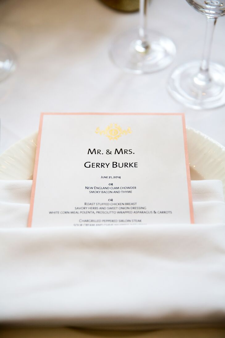 The white menu cards were tucked into the white linen napkins at each place setting.