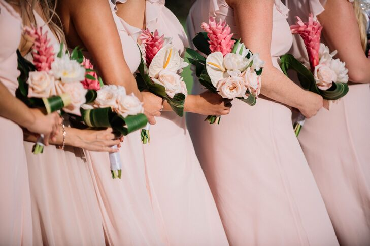 Bridesmaids with Pink Bouquets and Dresses