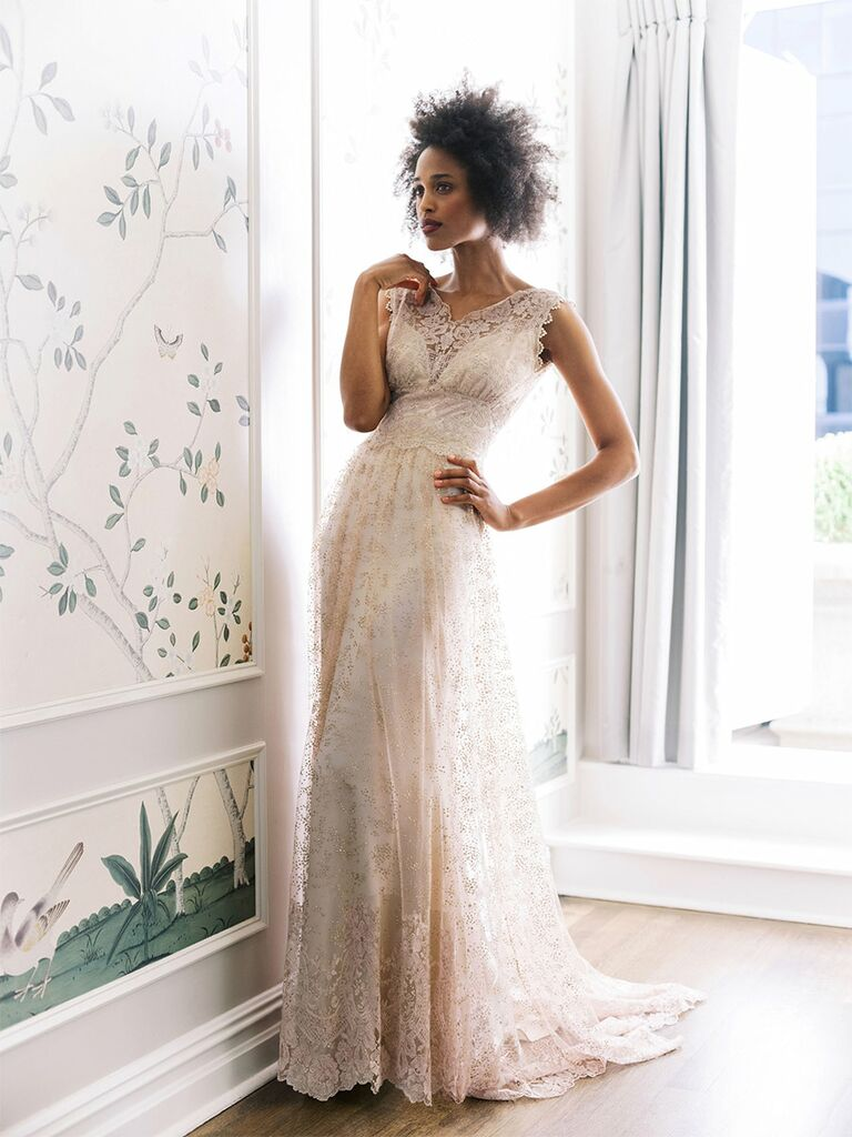 claire pettibone wedding dress blush lace a-line dress