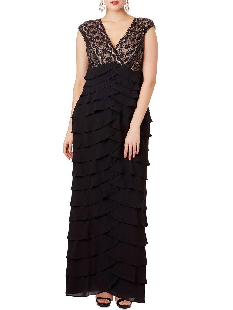 Black ruffle winter wedding guest dress