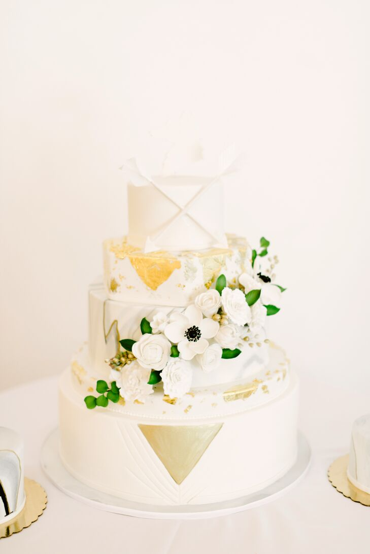 Ivory and Gold Geometric Cake with Cascading Sugar Flowers