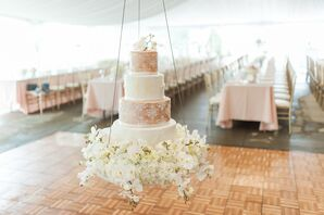 Tiered White and Champagne Cake with Etched Designs