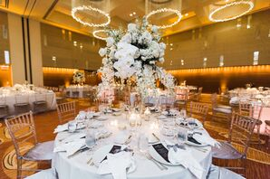 Tall Centerpiece with White Orchids and Stephanotis