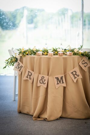 "Burlap ""Mr. and Mrs."" Sweetheart Table Decor"