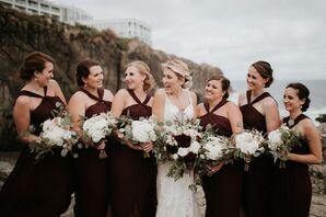 Burgundy Criss-Cross Halter Bridesmaid Dresses