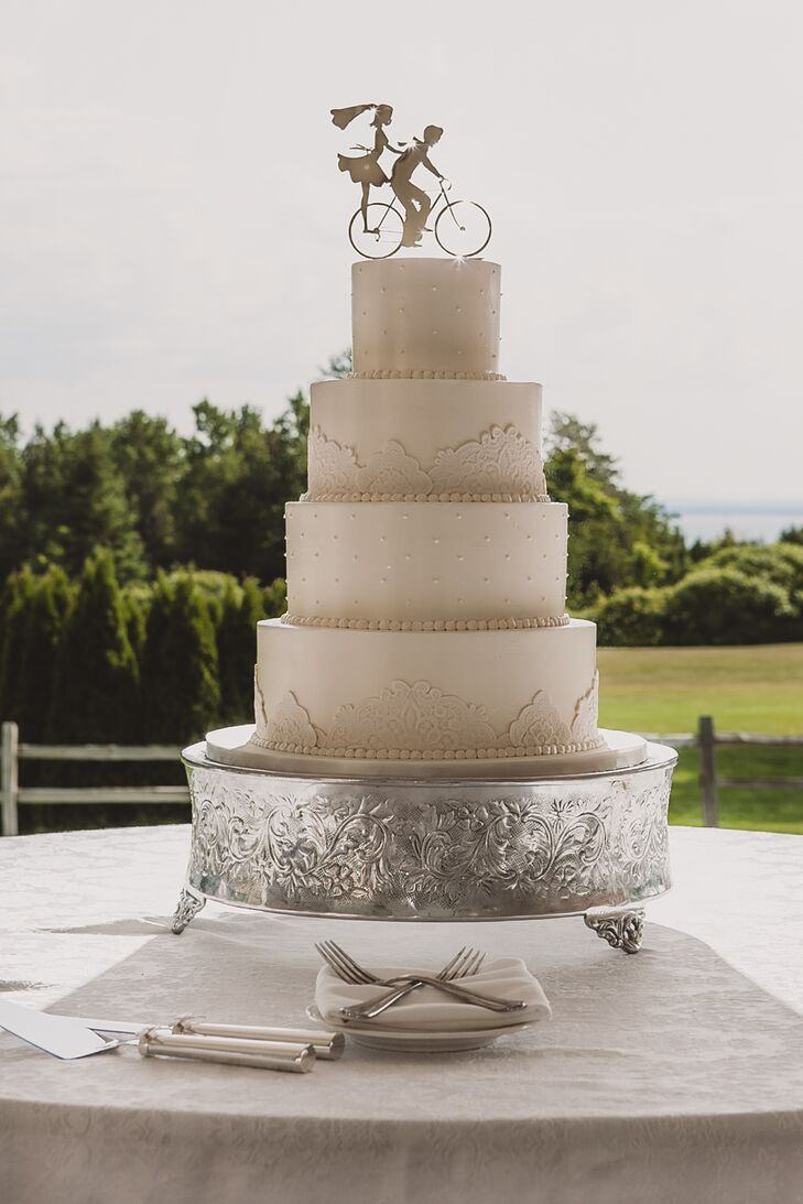 Ivory Fondant Wedding Cake With Bicycle Topper