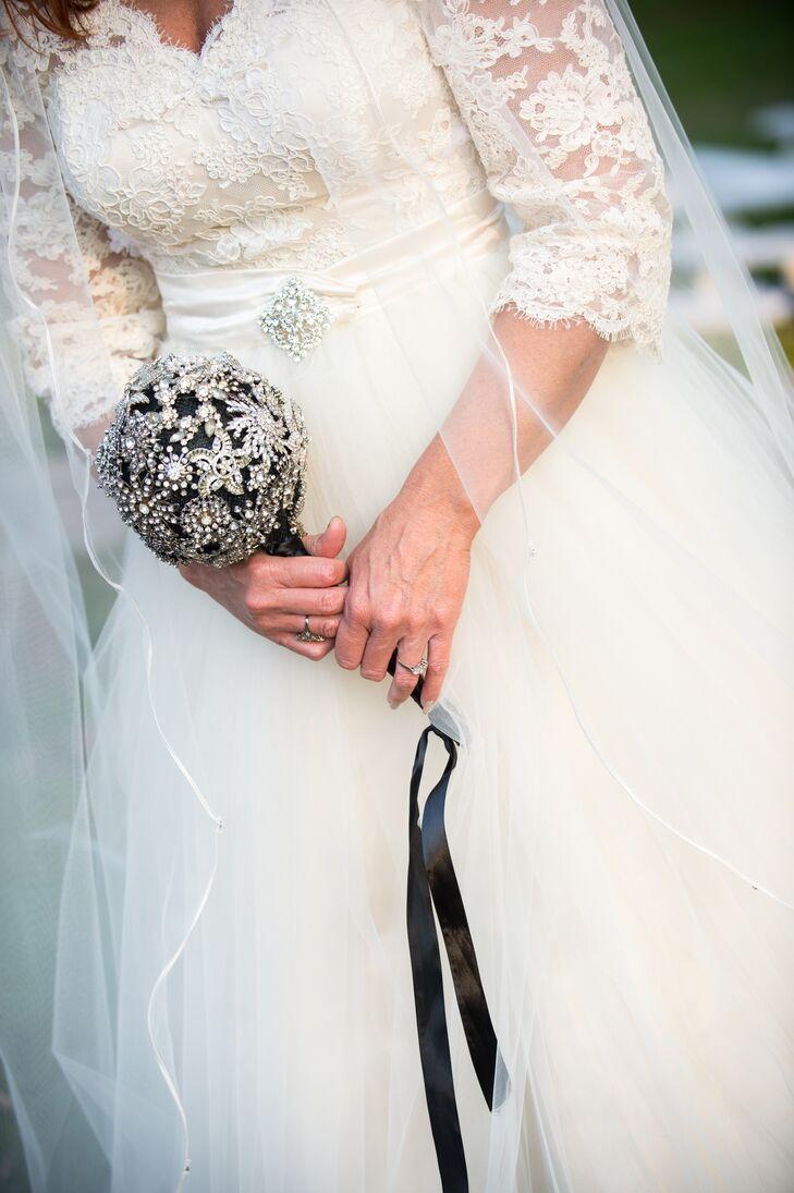 Vintage Crystal Brooch Bridal Bouquet