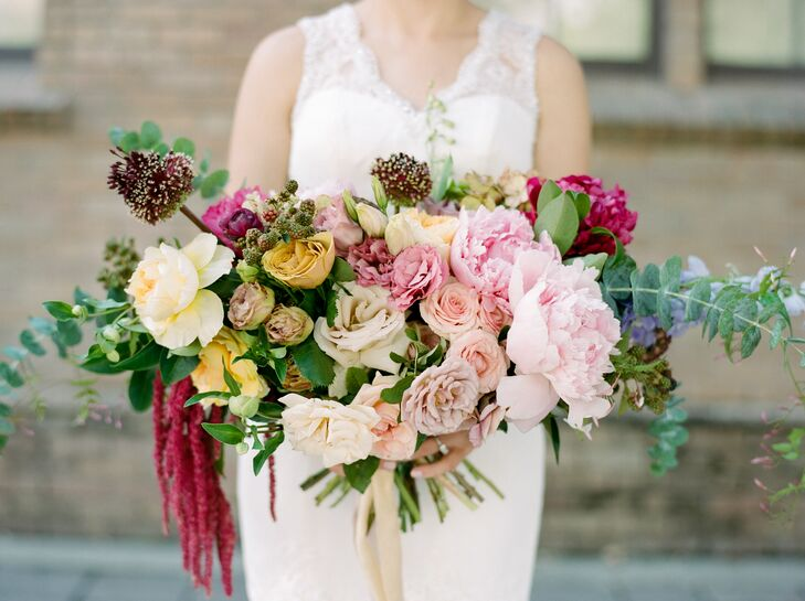 Oversized Bouquet of Eucalyptus Leaves, Peonies, Astilbe and Wildflowers