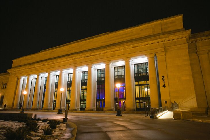 After exchanging vows in a traditional ceremony at the Fort Snelling Memorial Chapel, the newlyweds and their guests headed over to Christos Union Depot for an evening of dinner and dancing. The 1920s revival architecture, with its marble floors, stately columns, high ceilings and intricate detailing lent the reception an air of old world charm and elegance.