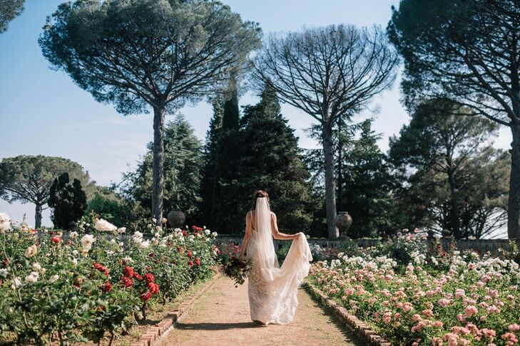 Bride with Veil in Italian Spring Garden