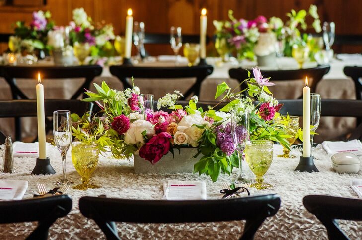 Bright Peony, Lilac and Rose Centerpieces