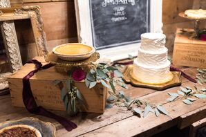 Rustic Cake Table with Wood and Vintage Frames