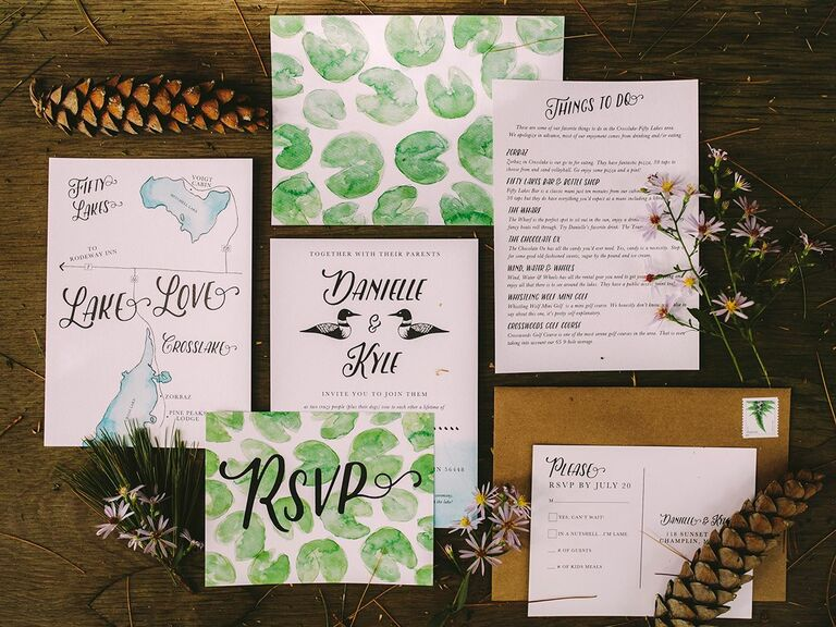 nature-inspired stationery wedding invitation suite