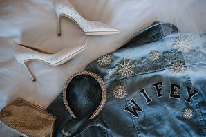 Elegant White Heels and Personalized Denim Jacket