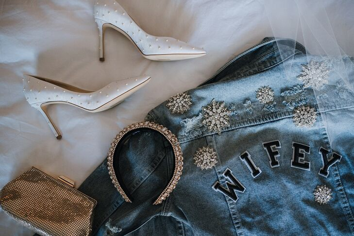 Elegant White Heels and Personalized Denim Jacket