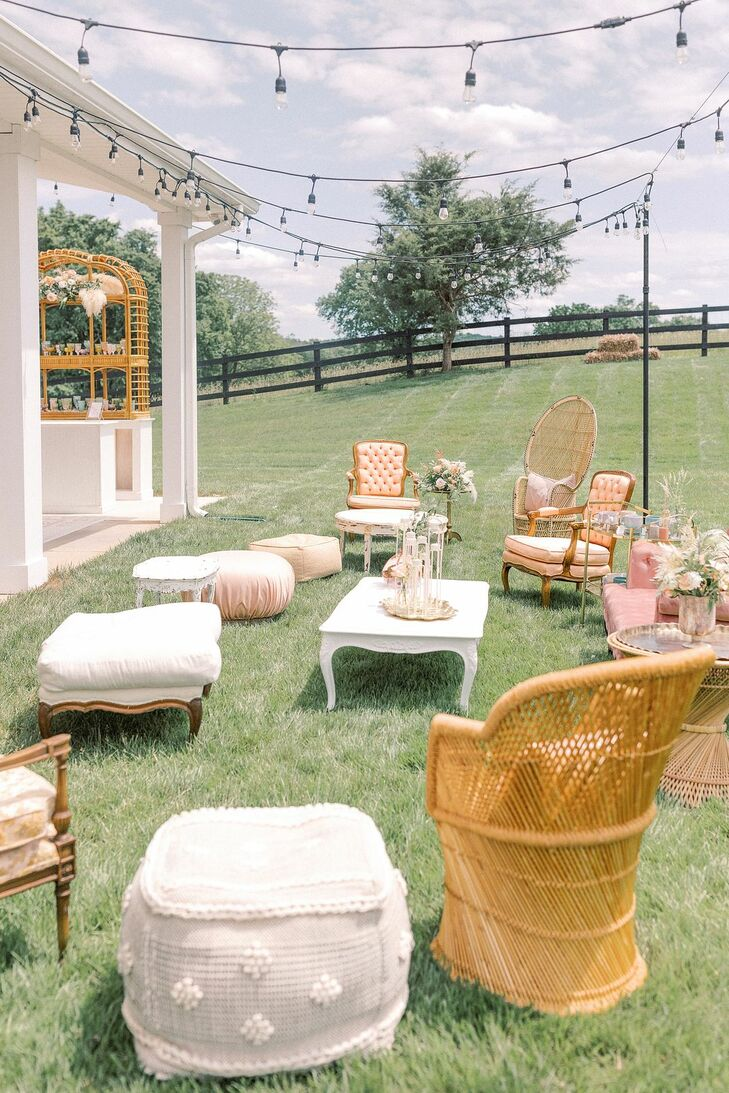 Bohemian Lounge Seating Area for Wedding at The Barn at Willow Brook in Leesburg, Virginia