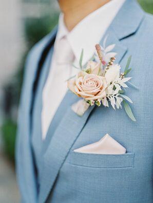 Romantic Blush-and-White Wedding Boutonnière for California Wedding