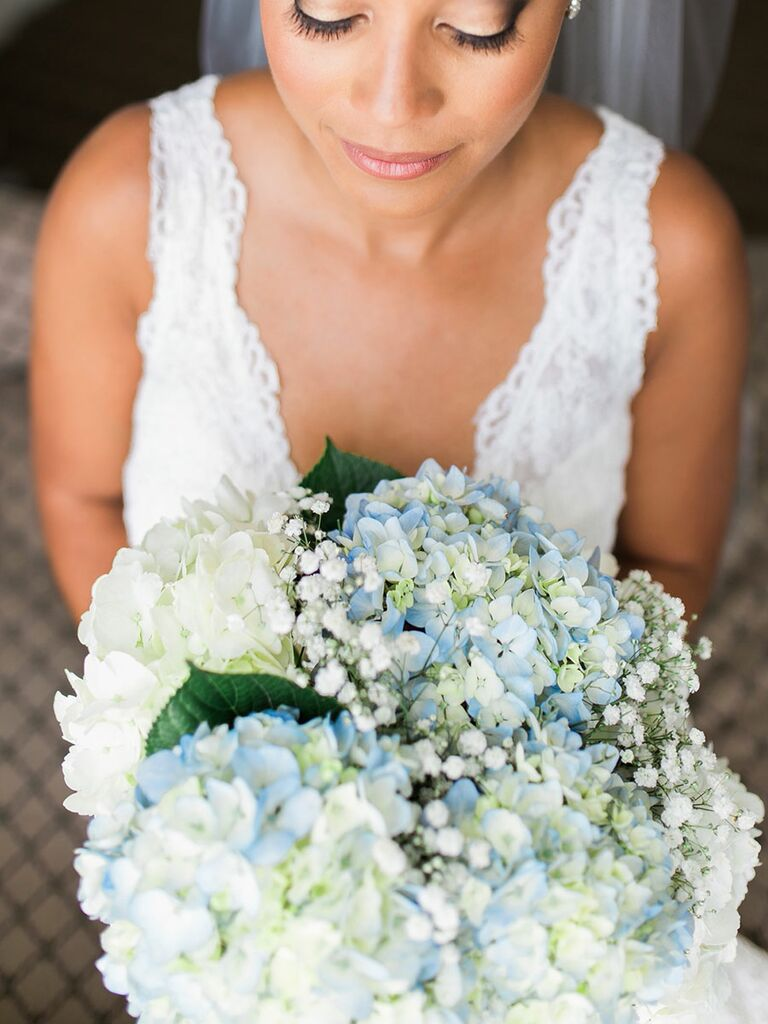Blue and white wedding bouquet with hydrangea and baby's breath
