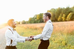 Grooms Dancing in a Field in Springfield, Missouri