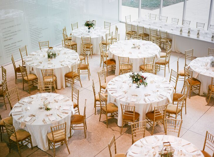 Minimal Museum Reception with Gold Chiavari Chairs