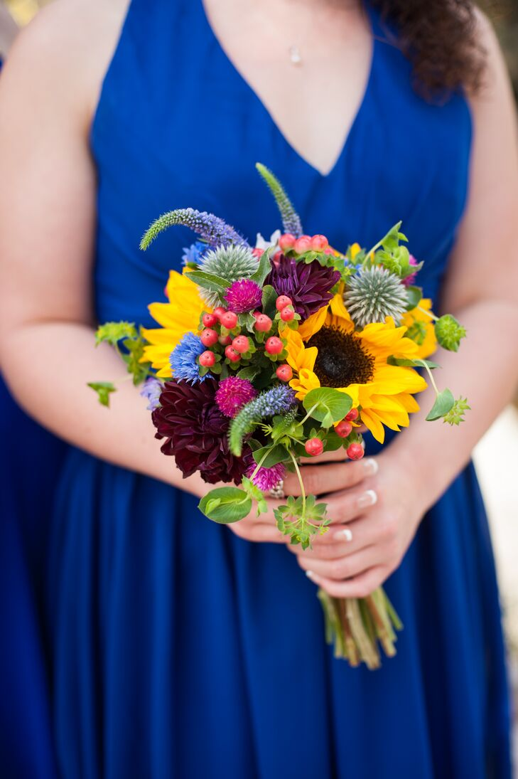 Wildflower-Inspired Sunflower, Dahlia, Hypericum Bouquet
