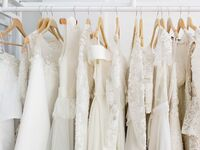 Wedding dresses hanging on rack