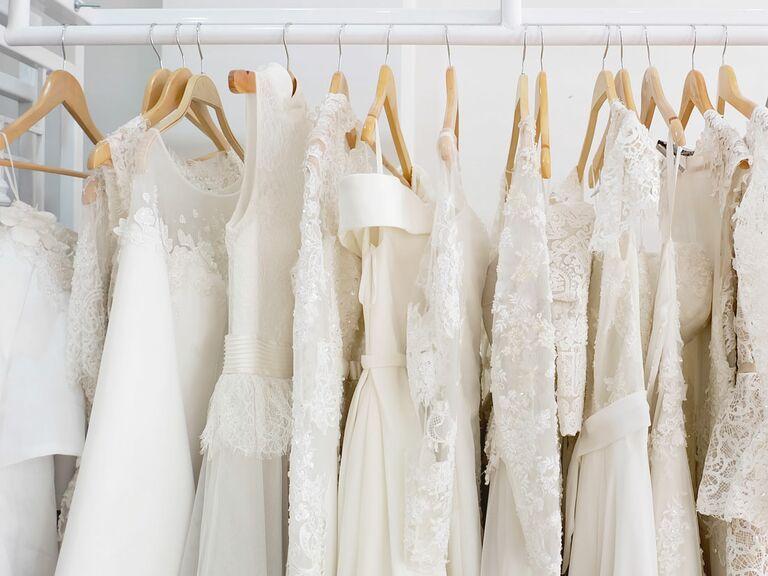 Wedding dresses hanging on rack