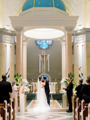 Traditional First Kiss at The Immaculata in San Diego, California