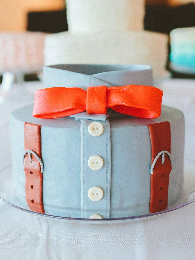 A creaive button-down groom's cake idea