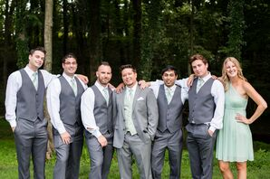 Groomsmen in Gray Pants and Vests with Pale Green Ties