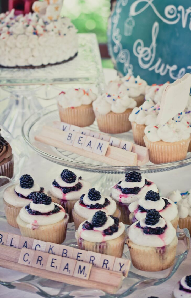 Guests were treated to decadent flavored cupcakes that had Scrabble letters arranged in front of them to spell out the flavor.