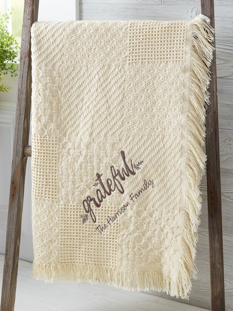 personalized lace throw blanket