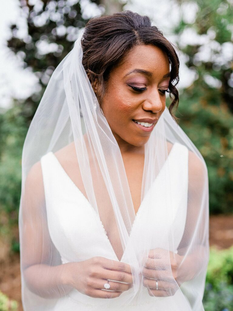 wedding updos veil with face-framing layers