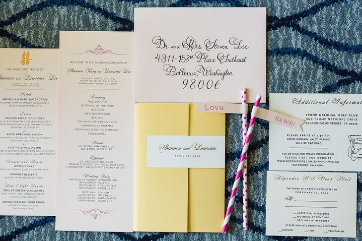 Custom White and Yellow Invitation Suite