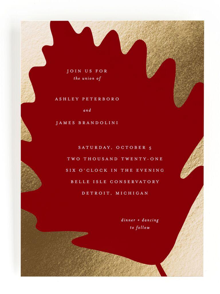 Red leaf fall wedding invitation