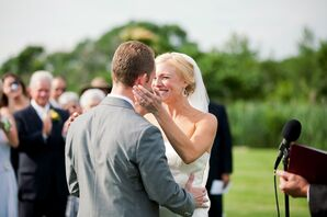 Jackie and Adam Wedding Ceremony First Kiss