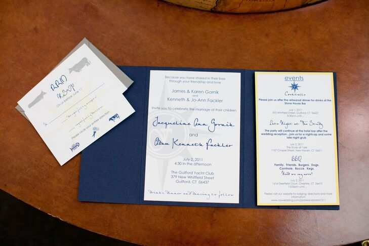 Jackie designed their navy and white gatefold wedding invitations complete with a subtle compass design.