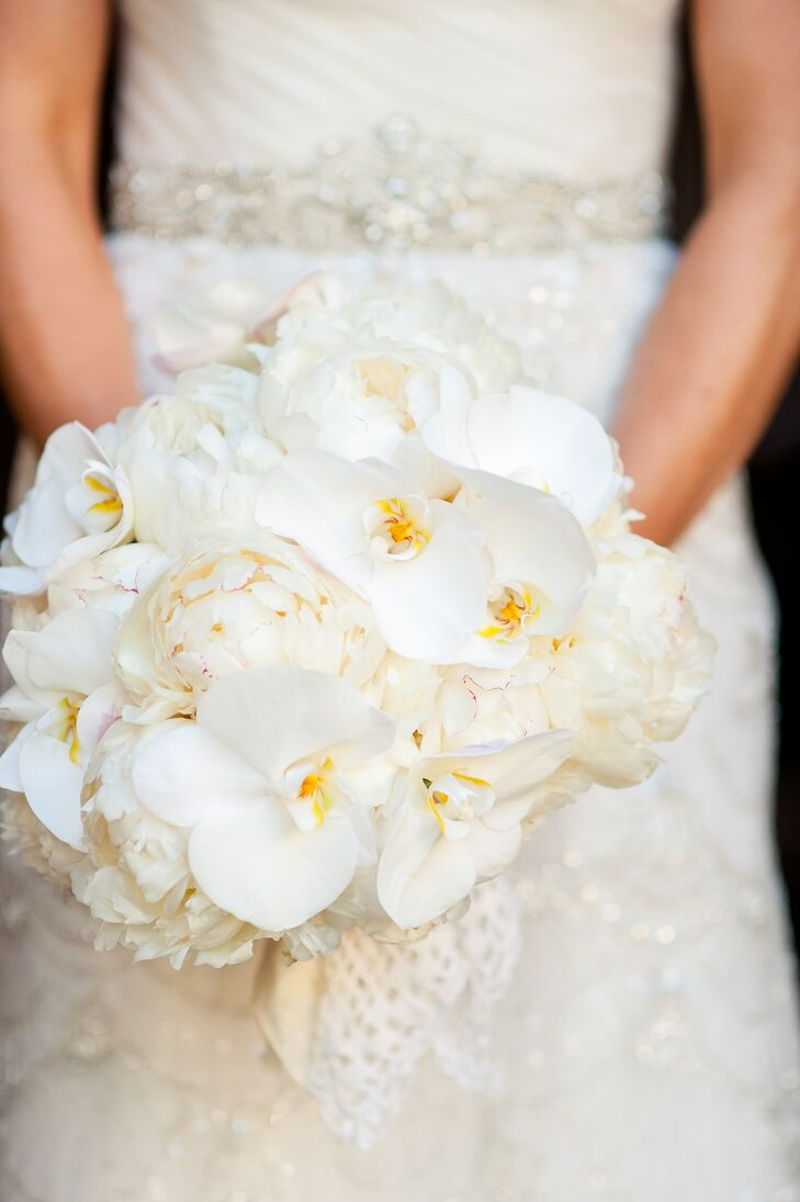 Winter White Orchid and Peony Bridal Bouquet
