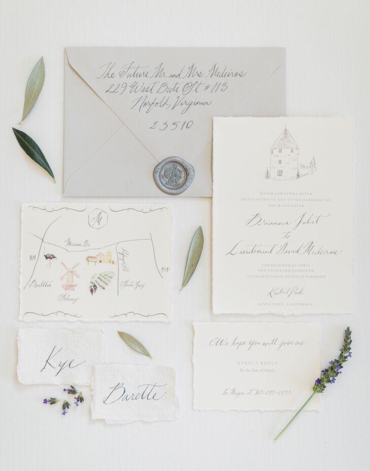 Elegant Script Invitations With Custom Illustrations