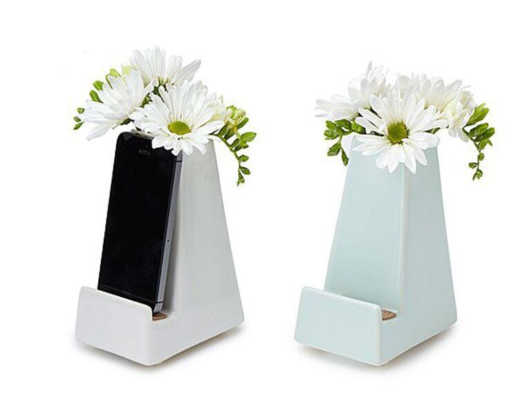 Flower vase phone stand 25th anniversary gift